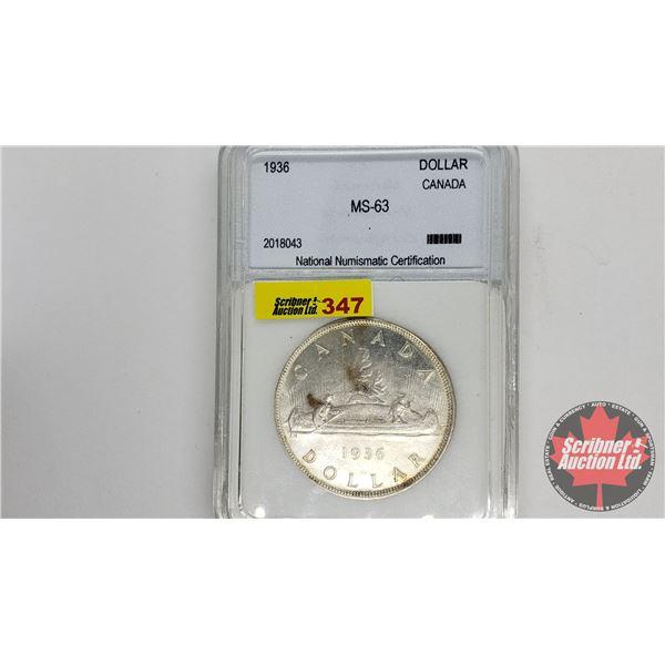 Canada Silver Dollar 1936 (SEGS Certified MS-63)