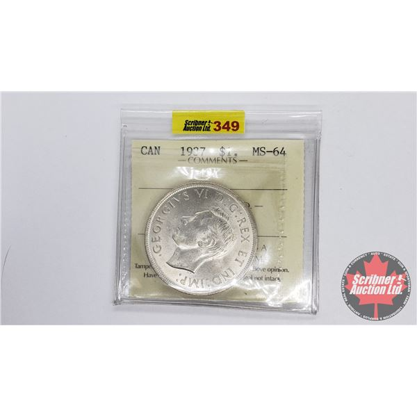 Canada Silver Dollar 1937 (ICCS Certified MS-64)