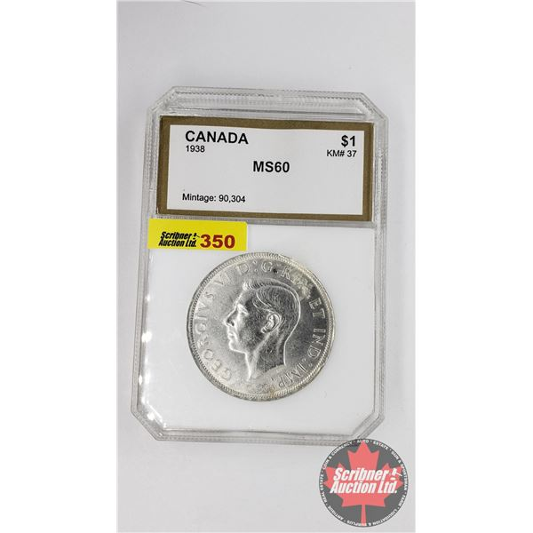 Canada Silver Dollar 1938 (PCI Certified MS-60)