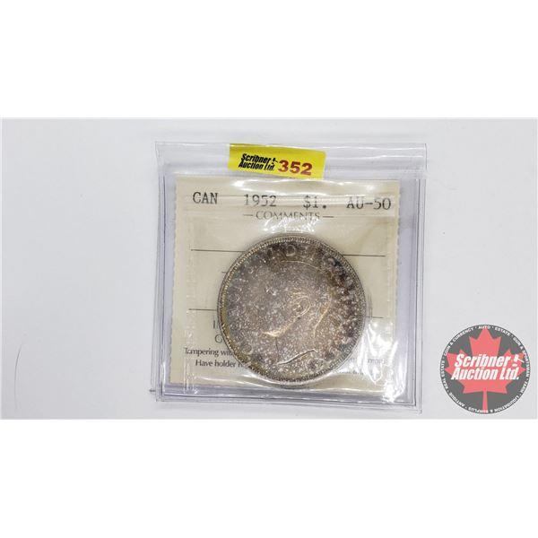 Canada Silver Dollar 1952NWL (ICCS Certified AU-50)