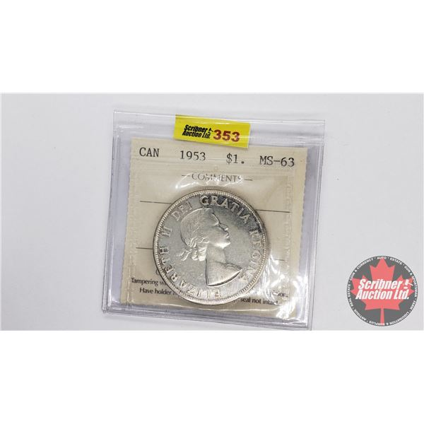 Canada Silver Dollar 1953 NSF (ICCS Certified MS-63)