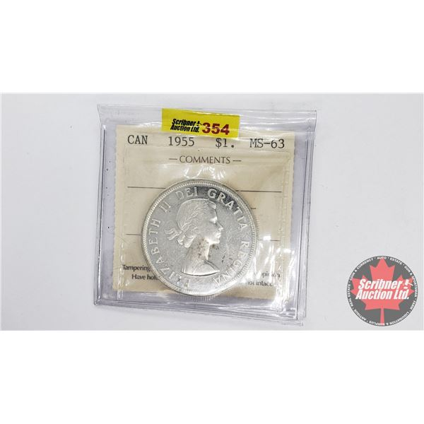 Canada Silver Dollar 1955 (ICCS Certified MS-63)