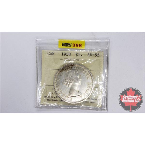 Canada Silver Dollar 1958 (ICCS Certified AU-55)