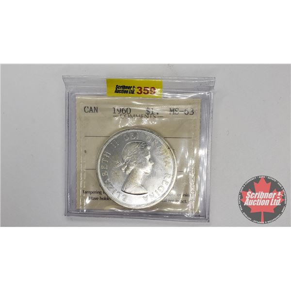 Canada Silver Dollar 1960 (ICCS Certified MS-63)