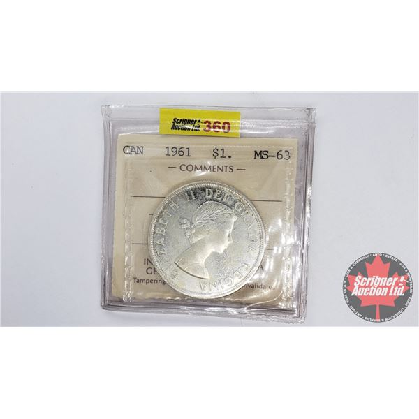 Canada Silver Dollar 1961 (ICCS Certified MS-63 Cameo)