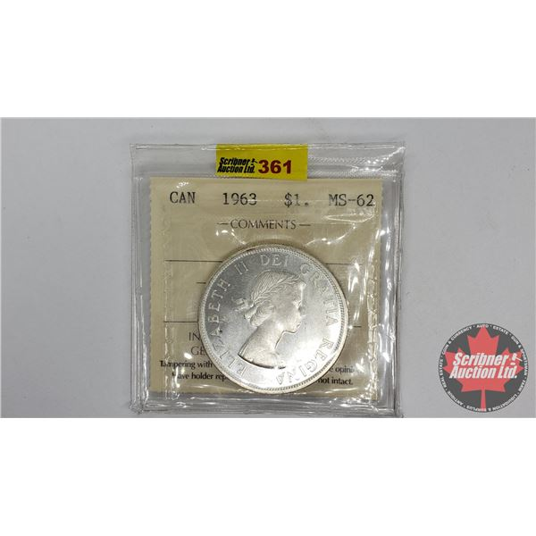 Canada Silver Dollar 1963 (ICCS Certified MS-62)