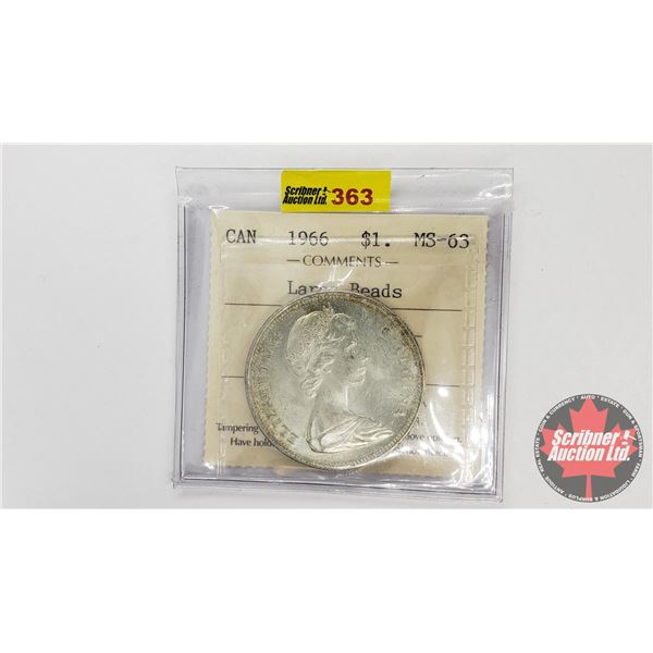 Canada Silver Dollar 1966 (ICCS Certified MS-63 Large Beads)