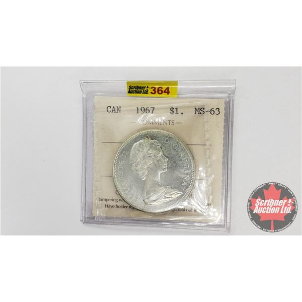 Canada Silver Dollar 1967 (ICCS Certified MS-63)