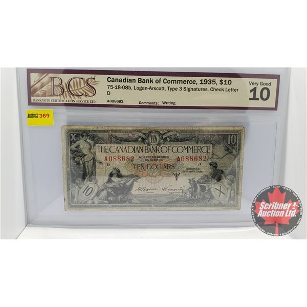 Canadian Bank of Commerce $10 Bill 1935 (BCS Certified : Very Good 10 ) (See Pics for Signatures/Ser