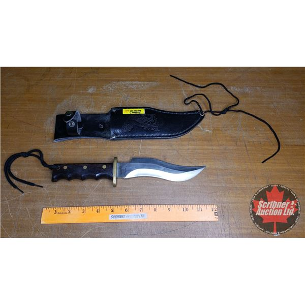 """Premier Stainless Hunting Knife in Leather Sheath (11-1/2""""L)"""
