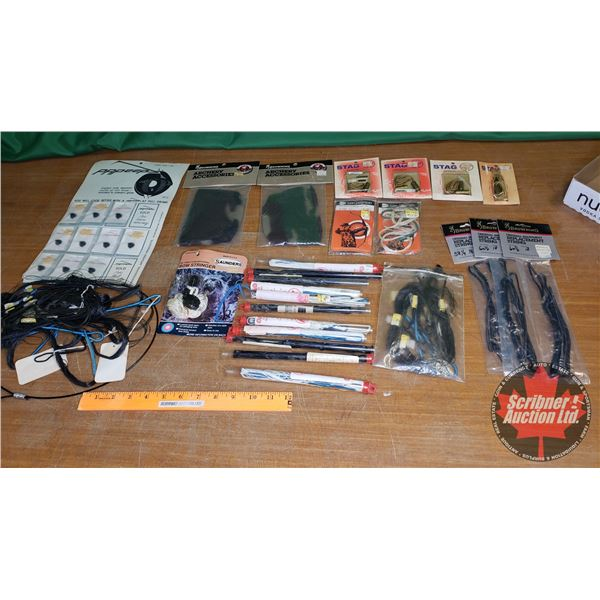 Tray Lot: Large Quantity & Variety of Bow String, Bow Stringers, Browning Quiver Hood Covers (2) & P