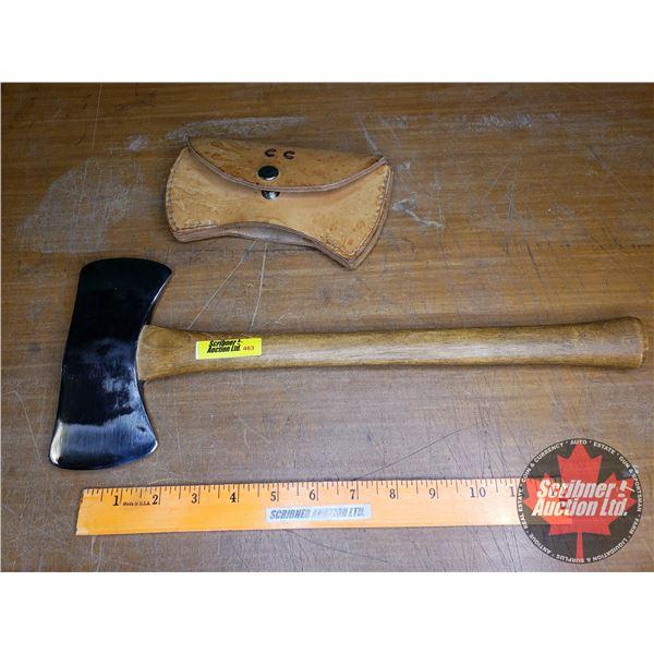 "Herter Saddle Axe w/Leather Sheath (15-1/2""L x 6-1/4""W)"