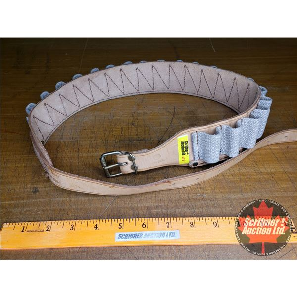 """Ammo Belt - Leather/Canvas (Total Length 49"""") Made in GDR"""