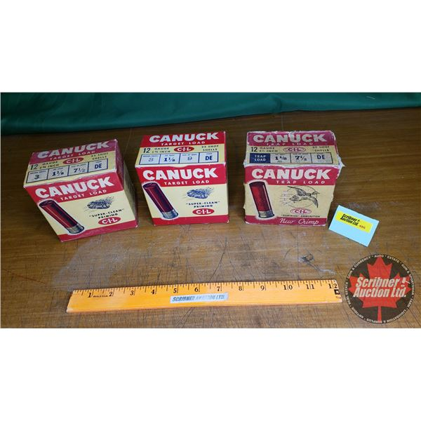 Vintage Ammo Boxes (3) : Canuck Trap Load & Target Load (2) (NOTE: EMPTY BOXES ONLY FOR COLLECTORS)