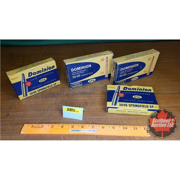 Vintage Ammo Boxes (4): Dominion CIL 30-06 Sprng (NOTE: EMPTY BOXES ONLY FOR COLLECTORS)