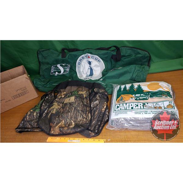 Combo: Game Winner Shell Belt, Camper Blanket & Saskatchewan Rough Riders Duffle Bag