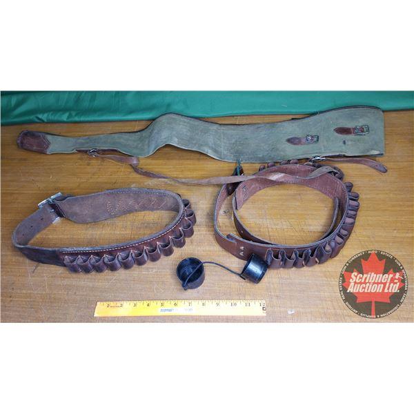 Tray Lot: Soft Shell Gun Case & Leather Shot Shell Ammo Belts (2)
