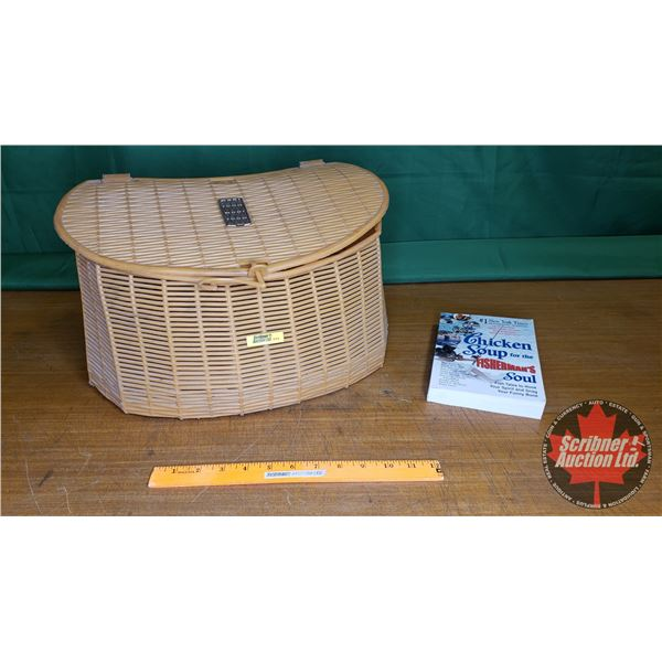 "Creel Fish Basket (Plastic) with Chicken Soup for the Fishermans Soul Book (Basket = 10""H)"