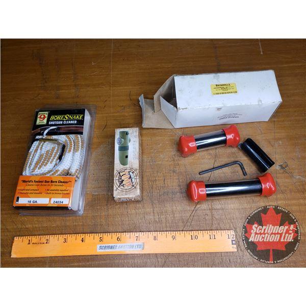 Tray Lot: Bore Snake Shotgun Cleaner, Haleakala Adventure Tool & Brownell's Barrel Weight Kit