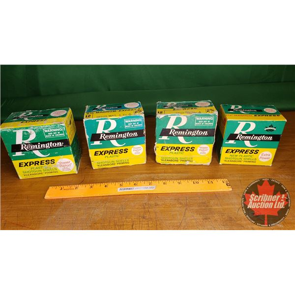 Tray Lot: Vintage Ammo Boxes (4) : Remington Shotshell (NOTE: EMPTY BOXES ONLY FOR COLLECTORS)