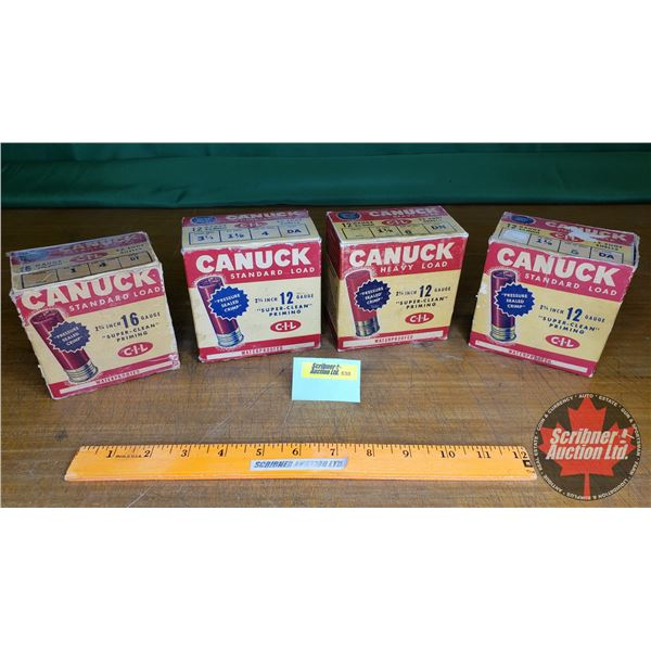 Vintage Ammo Boxes (4): Canuck CIL 12ga (NOTE: EMPTY BOXES ONLY FOR COLLECTORS)