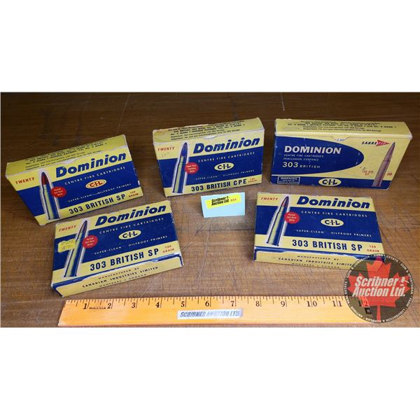 Vintage Ammo Boxes (5): Dominion CIL 303BR (NOTE: EMPTY BOXES ONLY FOR COLLECTORS)
