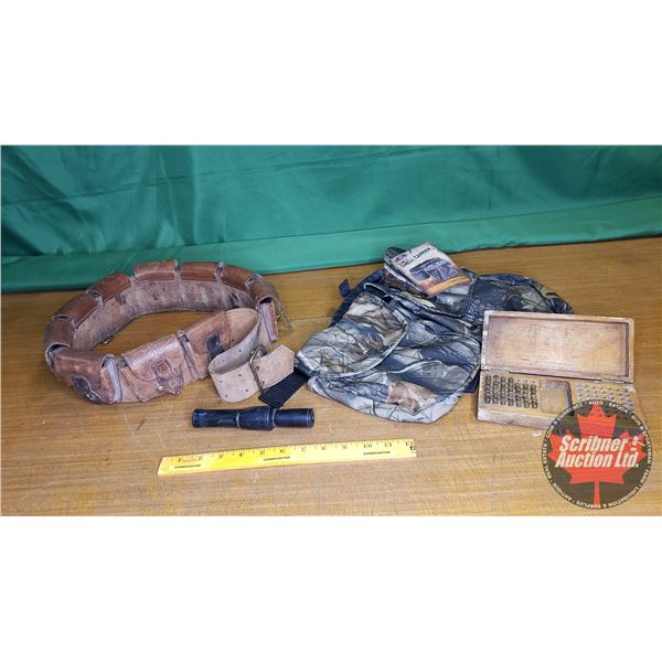 Tray Lot: Fieldline Game & Shell Carrier, Calvary Leather Ammo Belt from WW1 Ottawa 1915, Duck Call,