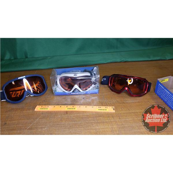 Tray Lot: Sport Goggles (3); Renegade, Gordini & Renegade (New in Box)