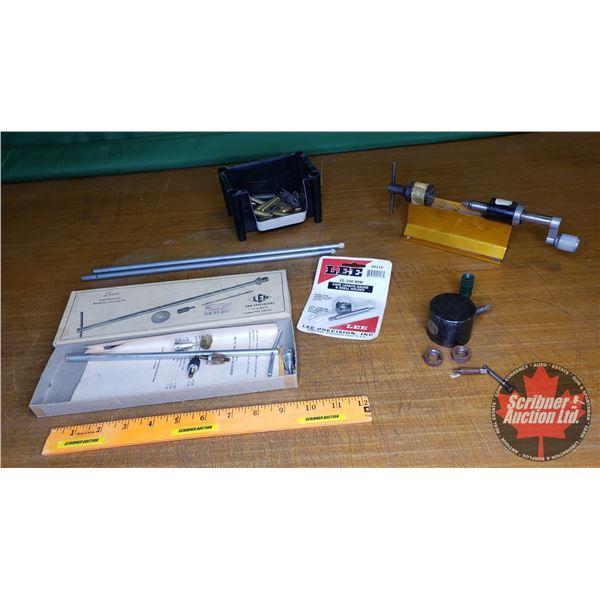 Tray Lot: Lead Remover Revolver Cleaning Kit, Forster Appel & Loader, Lee 2212SO Rem Case Shell Leng