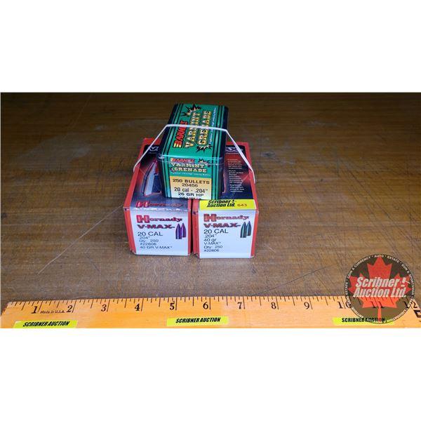Hornady 20cal Bullets (1 Full Box of 250 + 1 Partial Box) & Barnes 20cal Bullets (Partial Box)