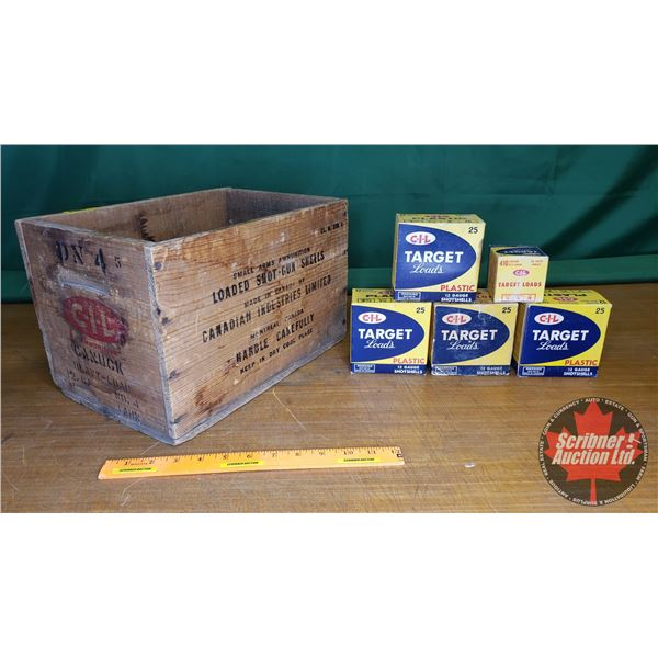 """CIL Ammunition Wooden Crate with Vintage CIL Target Load Ammo Boxes (Crate = 9""""H x 9-1/2""""W x 14""""D) ("""