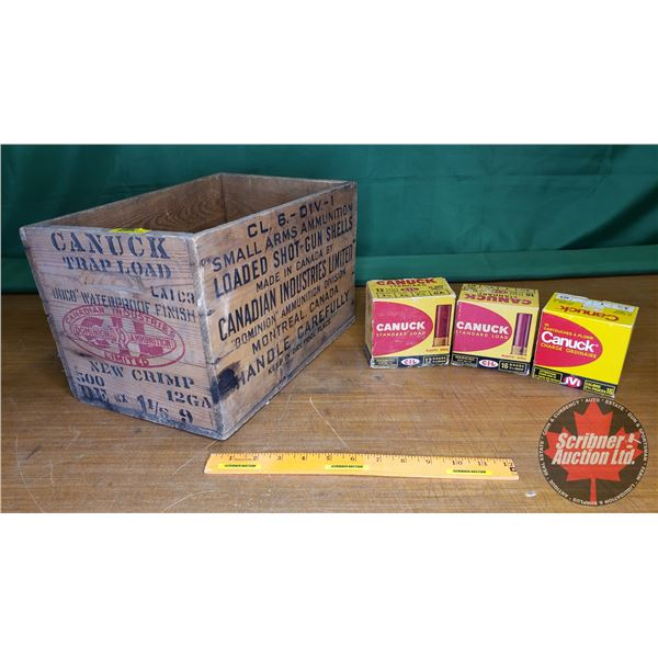 Canuck Trap Load Wooden Ammo Crate with 3 Canuck Vintage Ammo Boxes (NOTE: EMPTY BOXES ONLY FOR COLL
