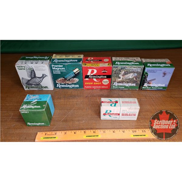 Tray Lot: Vintage Ammo Boxes (7): Remington - Variety of Calibers (NOTE: EMPTY BOXES ONLY FOR COLLEC