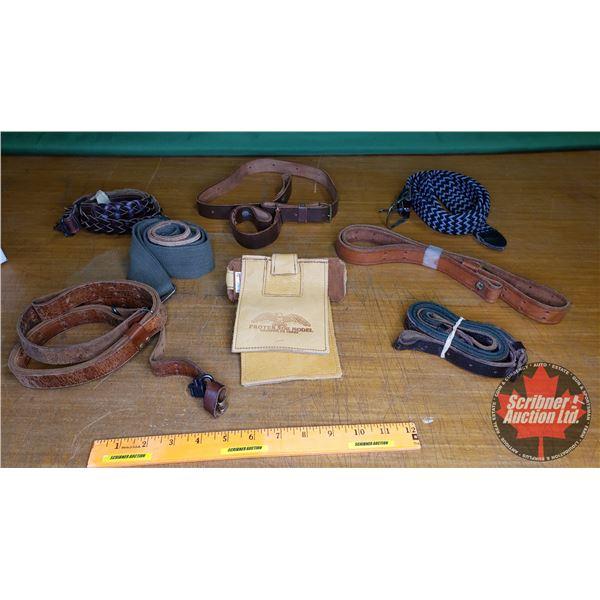 Tray Lot: Combo : Slings (6); Protector Model Gun Rest; Belt