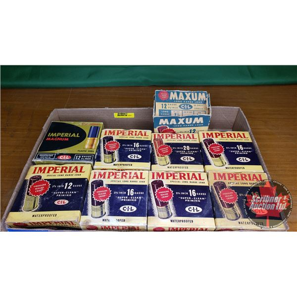 Vintage Ammo Boxes - Imperial (9): 12ga (3); 16ga (5); 20ga (1) (NOTE: EMPTY BOXES ONLY FOR COLLECTO