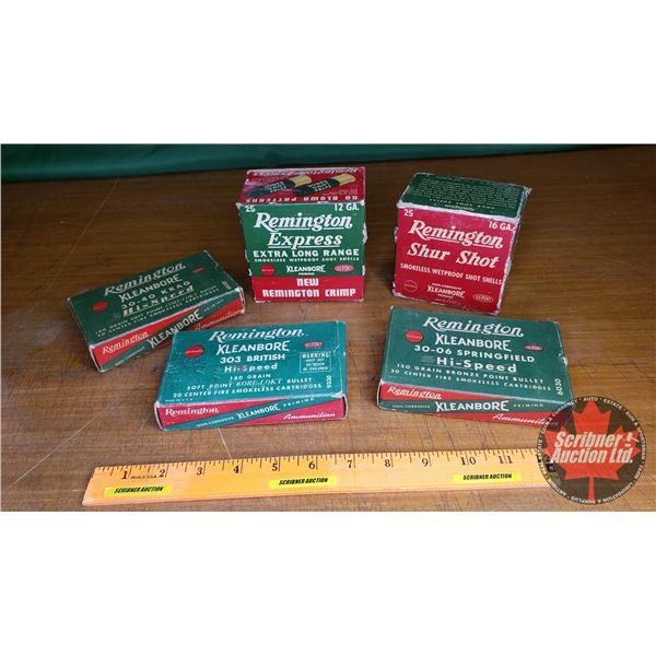 "Tray Lot: Vintage Ammo Boxes (5): ""Remington Kleanbore"" 12ga & 16ga & 30-40krag & 303 British & 30-0"