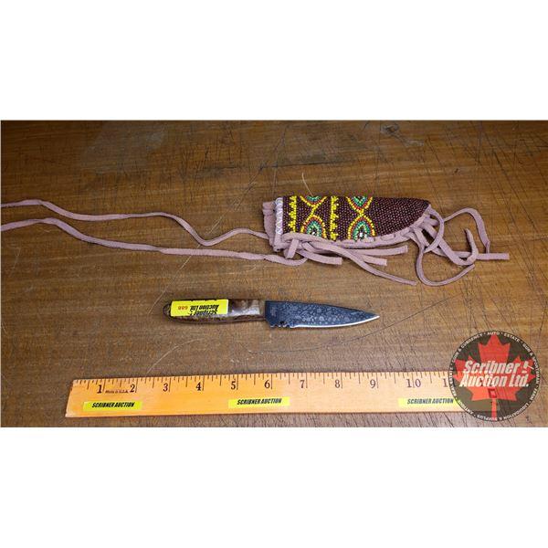 "Knife: United Cutlery Knife w/Beaded Sheath (Total Length: 7-1/4"")"