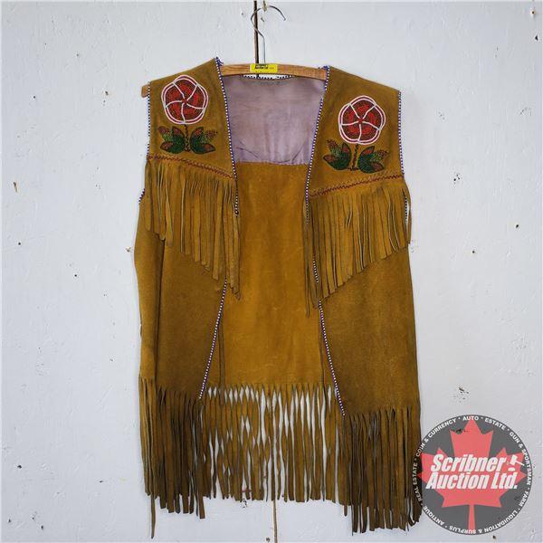 Native Leather Vest with Beadwork (Size : Medium?)