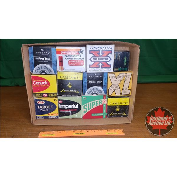 Tray Lot: Assorted Vintage Shotshell Ammo Boxes (12) (NOTE: EMPTY BOXES ONLY FOR COLLECTORS)