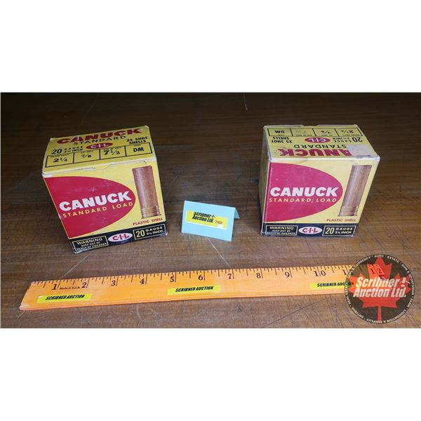 Vintage Ammo Boxes (2): CIL Canuck Standard 20ga (NOTE: EMPTY BOXES ONLY FOR COLLECTORS)