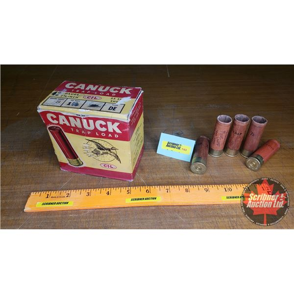 Vintage Ammo Box (1) CIL Canuck Trapload : comes with spent rounds (NOTE: EMPTY BOXES ONLY FOR COLLE
