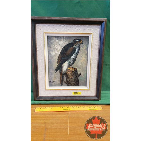 """Framed Painting """"Hawk"""" by Nita Ellen (16""""H x 13""""W)"""