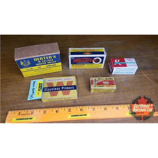 Vintage Ammo Boxes (5): Herter's; Remington; Winchester Primers; CIL Whiz-Bang; Western (NOTE: EMPTY