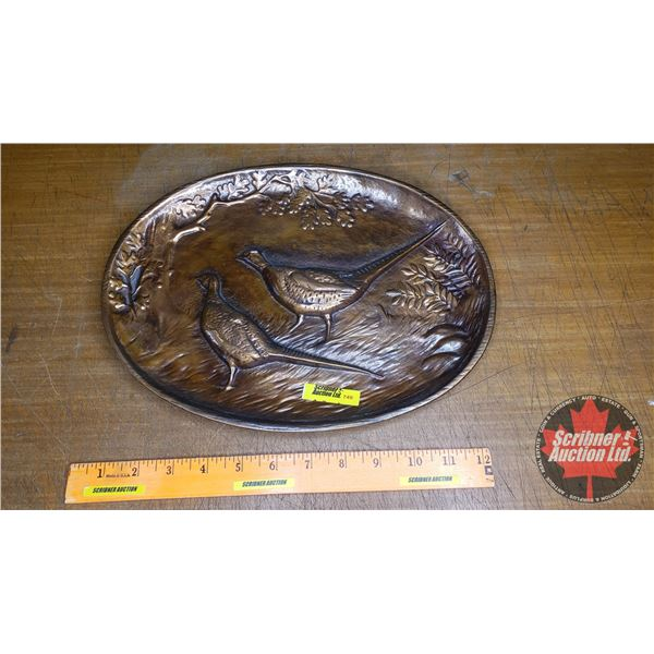 """Copper Wallhanging of Prairie Chickens by Canadian Fairbanks Morse Co. Ltd. (9-1/2"""" x 12-1/2""""W)"""