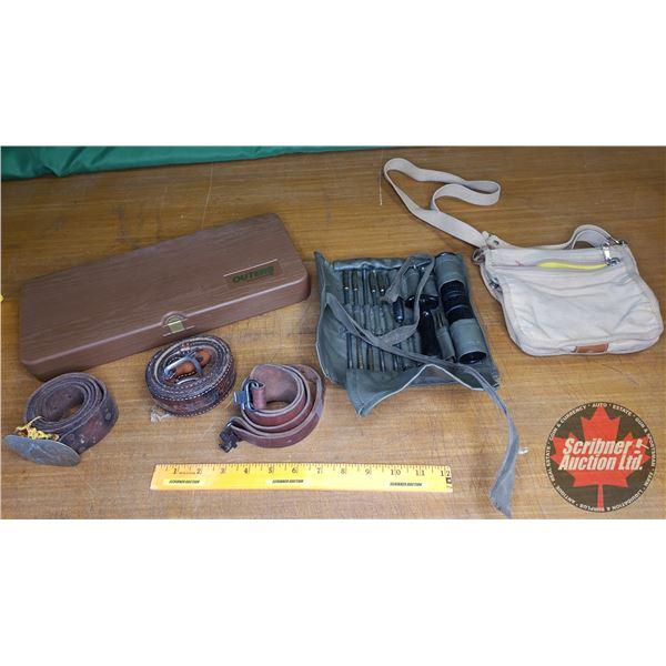 Tray Lot: Gun Cleaning Kits (2); Belts (2); Sling (1); Canvas Bag (1)