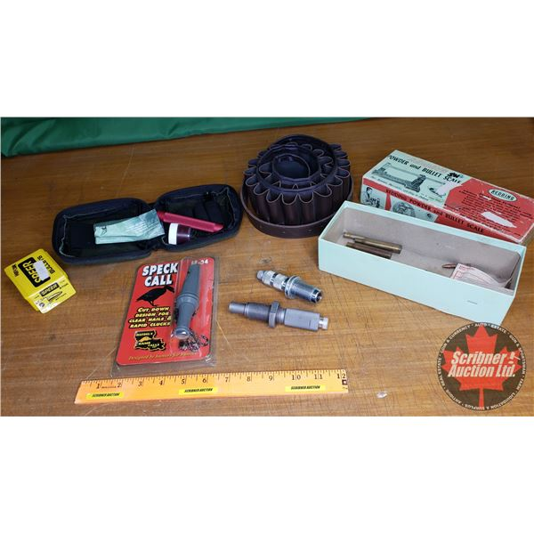 """Tray Lot: Shot Shell Ammo Belt, Speck Call Goose Call, Partial Gun Cleaning Kit, 25cal Bullets """"Spee"""