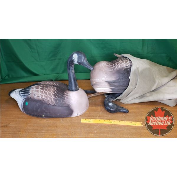 Sack Lot: Goose Decoys (12 Bodies, 11 Heads, 19 Stakes)