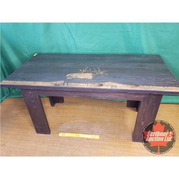 Custom Built - Cedar Coffee Table (Laser Etched Image of an Elk)