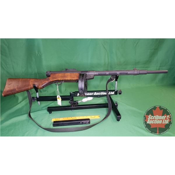 Rifle: Suomi M31SA Semi Auto 9mm (c/w: Round Magazine & Stick Magazine Pinned to 5 Rnds) (S/N#C4267)