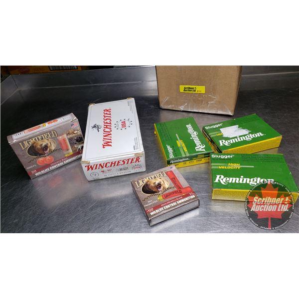 AMMO: Mixed Variety: 20ga Slugs (15 Rnds) & 410 Mega Blanks (5 Rnds) & 40 S&W Reloads (50 Rnds) & 20